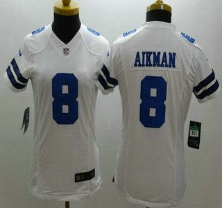 nike dallas cowboys jersey 8 troy aikman white limited womens jerseys