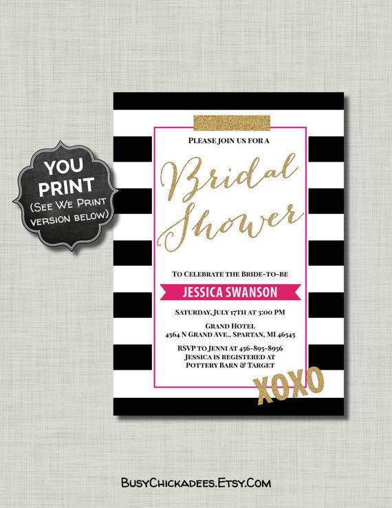 Black Pink Bridal Shower Invitation gold glitter by BusyChickadees