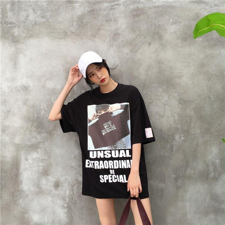 dbf821bbe28d5 韓国 原宿 ロゴ 半袖 ロング丈Tシャツ ファッション レディース カラフル ダンス 衣装
