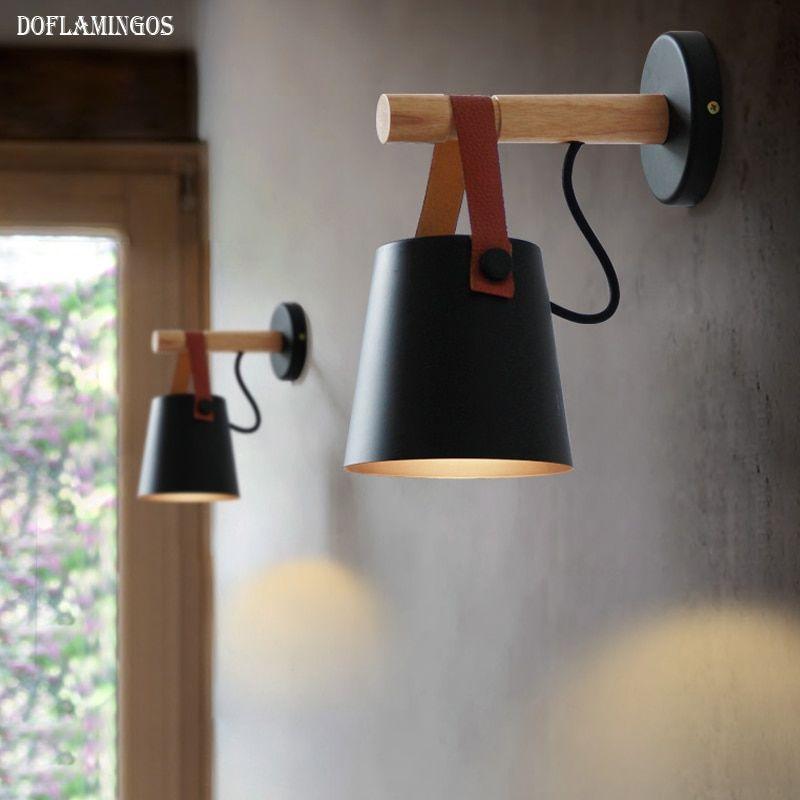 Led Wall Lamps Abajur For Living Room Wall Sconces Light E27 Nordic Wooden Belt Wall Light White Black Met Afbeeldingen Houten Wanden Slaapkamer Lampen Lampen