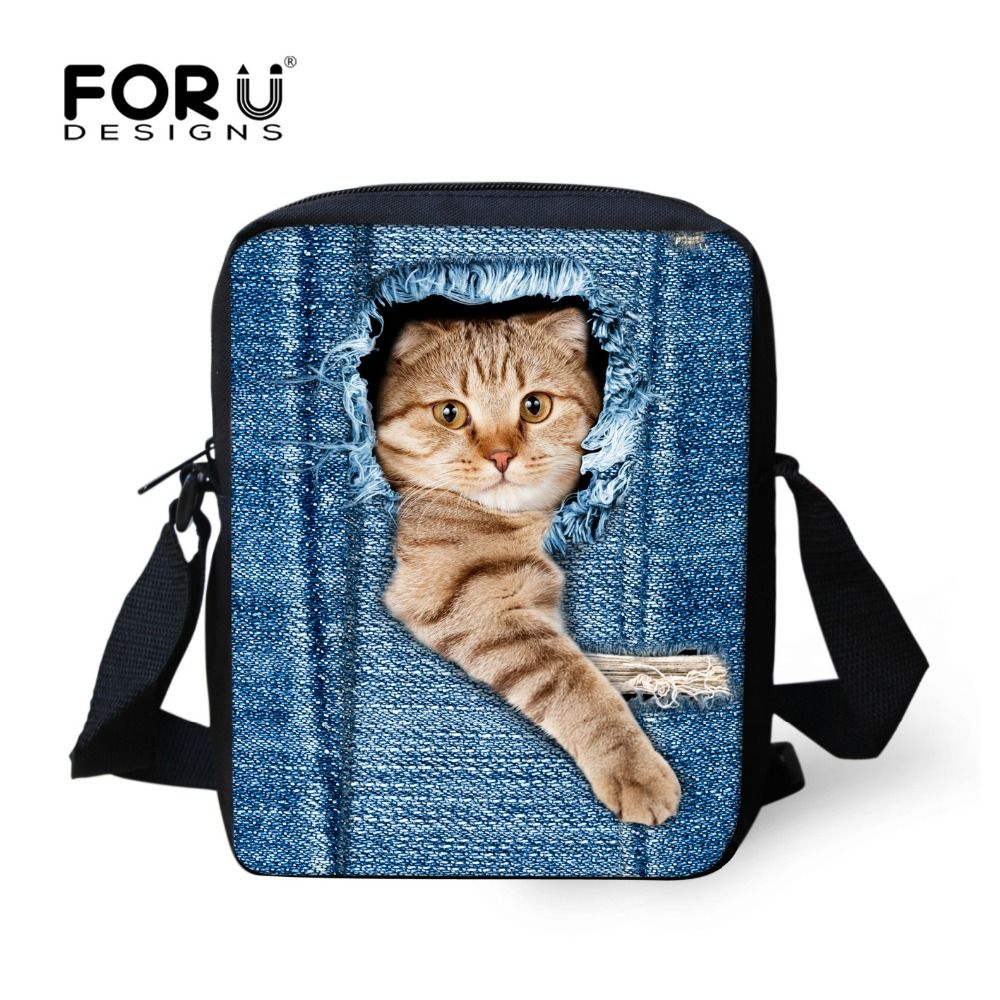 82fb03651c FORUDESIGNS Cute Cat Dog School Bags Girls Small Children Denim Animal  Schoolbag Women Jeans Book Bag