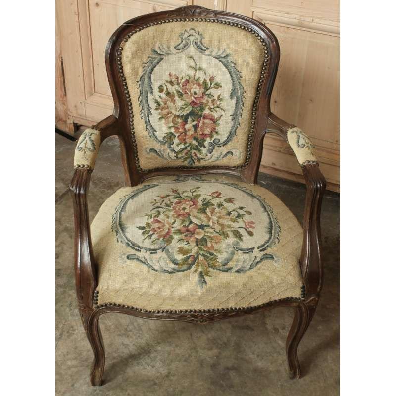 Antique Louis XV Needlepoint Armchair - Inessa Stewart's Antiques - Antique Louis XV Needlepoint Armchair - Inessa Stewart's Antiques