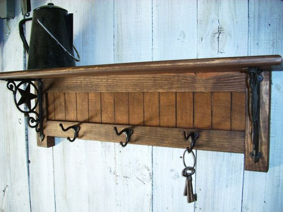 Rustic wall mount wood shim coat hook rack - 3 oil rubbed bronze ...