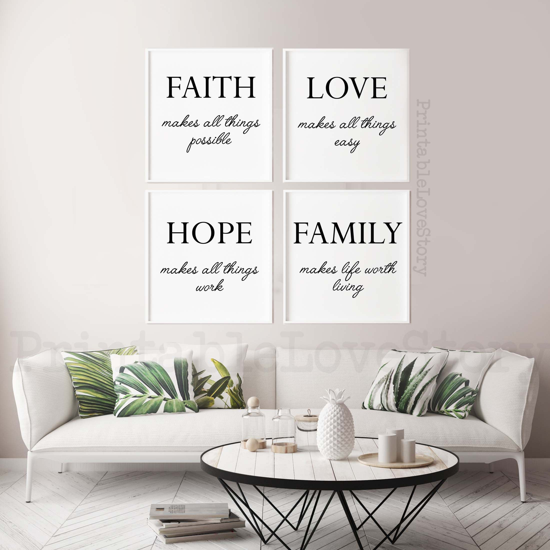 Family Signsfamily Home Decorfamily Quotesset Of 4 Etsy In 2021 Printable Bedroom Decor Wall Printables Printable Wall Art