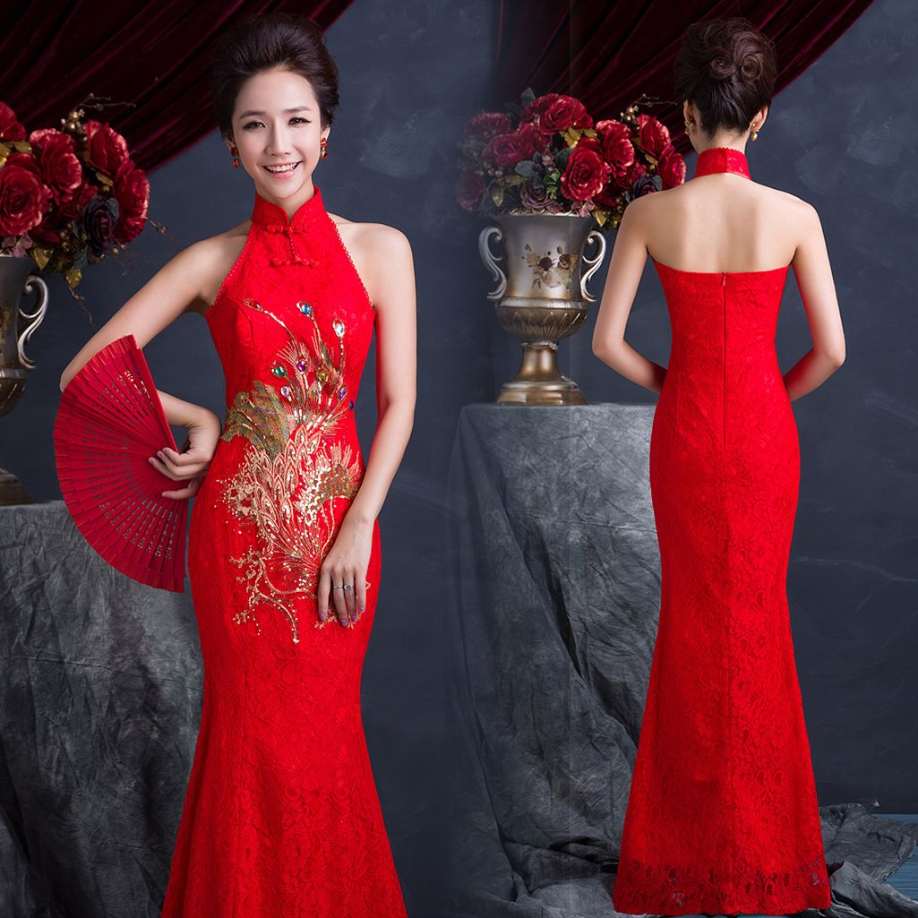 Sleeveless red phoenix embroidered long lace qipao Chinese bridal ...