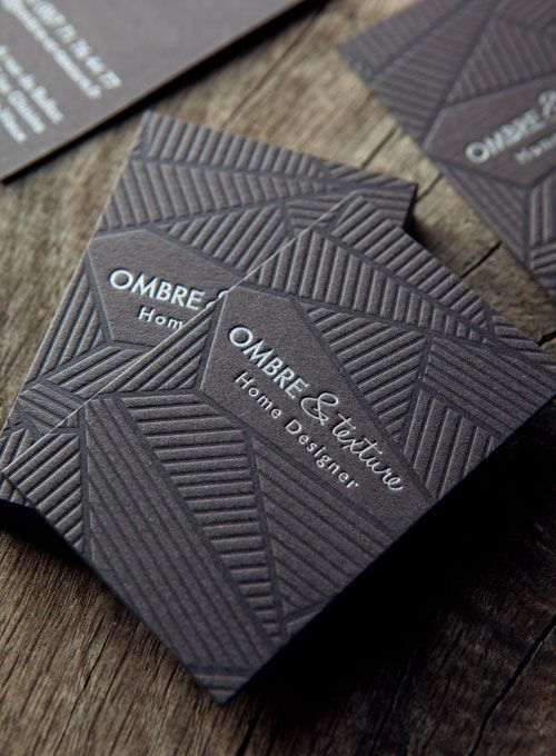 Impression Ton Sur Et Argent Papier Recycl Noir Pour Les Cartes Ombre Texture Letterpress Business Cards Printed In Tonal And Silver Onto