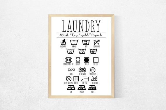 Laundry Symbols - Laundry Sign - Laundry Symbols Chart - Laundry Guide - Laundry Room - Laundry Room Decor - Laundry Room Sign #laundrysigns