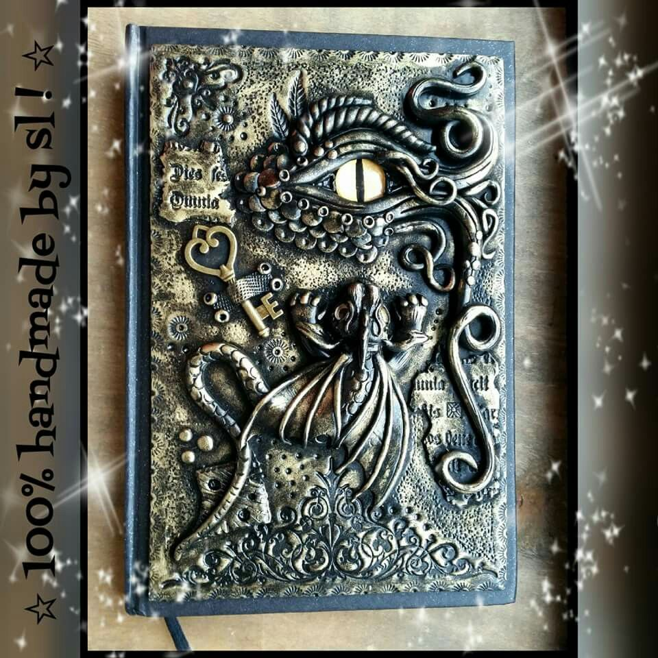 Book Of Shadows Cover Ideas : Dragon polymer clay journal notebook cover handmade book