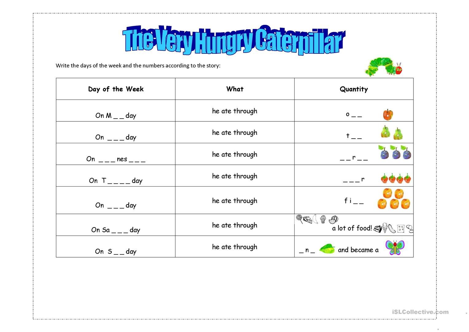 The Very Hungry Caterpillar Worksheets