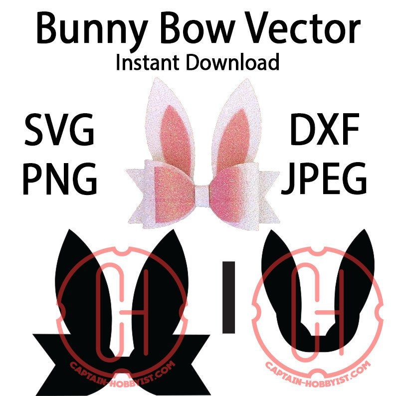 Easter Bunny Bow Svg Vector Template Pattern Download Etsy Bunny Hair Bows Bow Template Diy Hair Bows