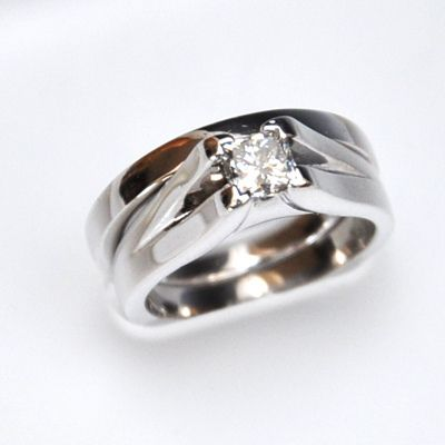14K White Gold Princess Engagement Ring and Wedding Band