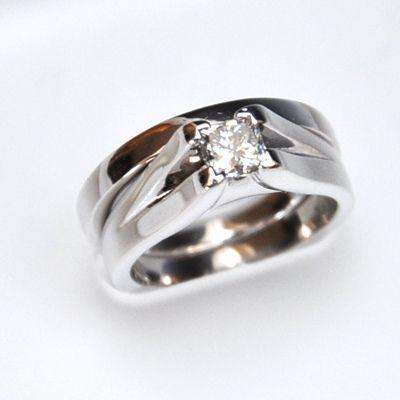 14K White Gold Princess Engagement Ring and Wedding Band