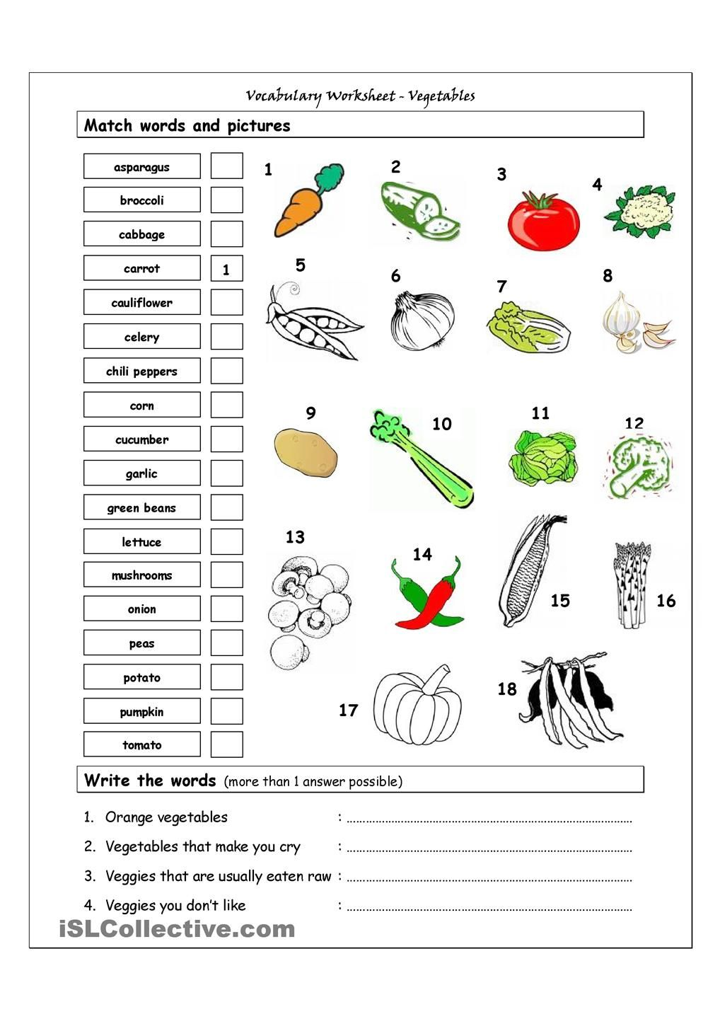vocabulary matching worksheet vegetables tefl pinterest engelsk og skole. Black Bedroom Furniture Sets. Home Design Ideas