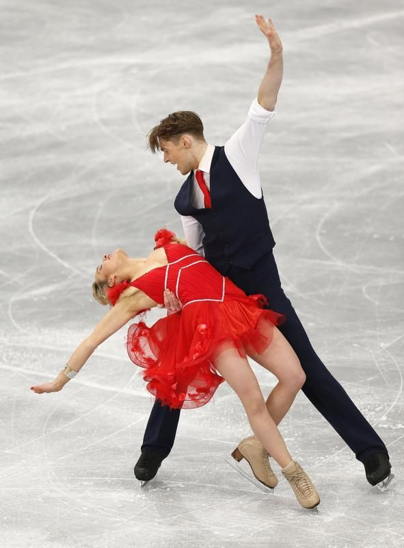 France's Pernelle Carron and Lloyd Jones compete in Ithe ce Dance Short Dance at the European Figure Skating Championships in Budapest, Hungary, Wednesday, Jan. 15, 2014. (AP Photo/Darko Bandic)