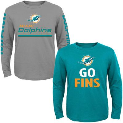 Miami Dolphins Youth Long Sleeve T-Shirt 2-Pack - Aqua/Gray