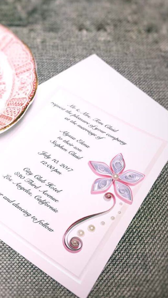 Quilled wedding invitation invitation card birthday invitation quilled wedding invitation invitation card birthday invitation bar mitzvah invitation or any stopboris Choice Image
