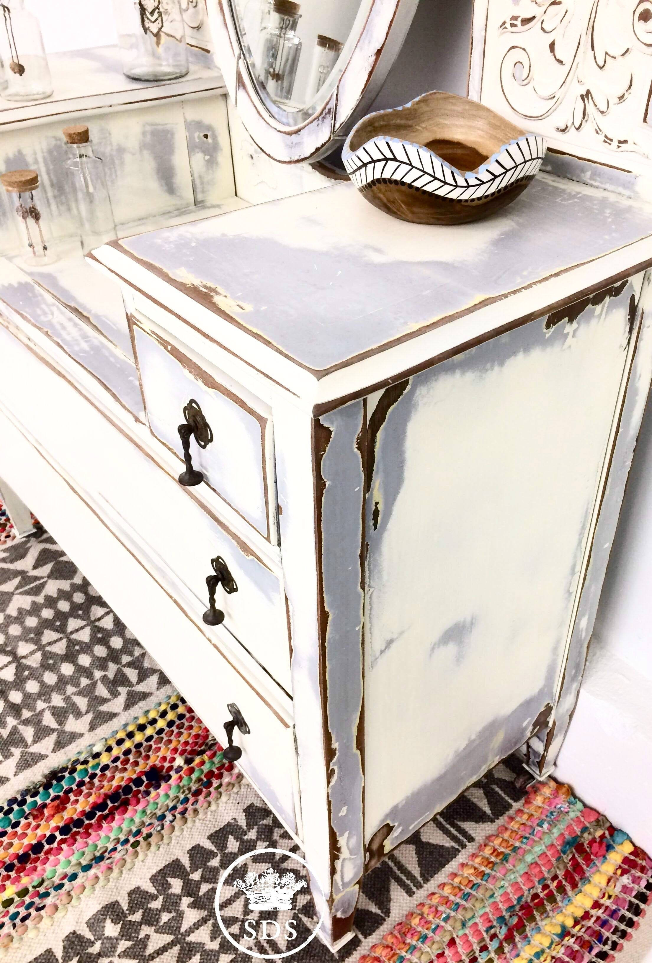 Boho painted vanity Grey white wood Shabby chic Distressed by