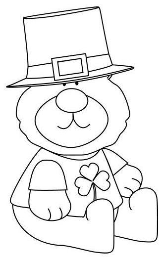 Saint Patricks Day Bear Coloring Page
