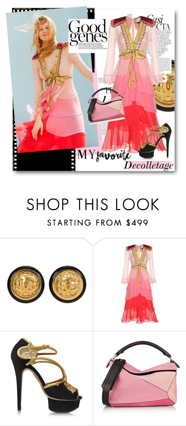 """""""#My Favourite - Body Part  - Decolletage"""" by nikkisg ❤ liked on Polyvore featuring Whiteley, Chanel, Gucci, Charlotte Olympia, Loewe and myfavorite"""