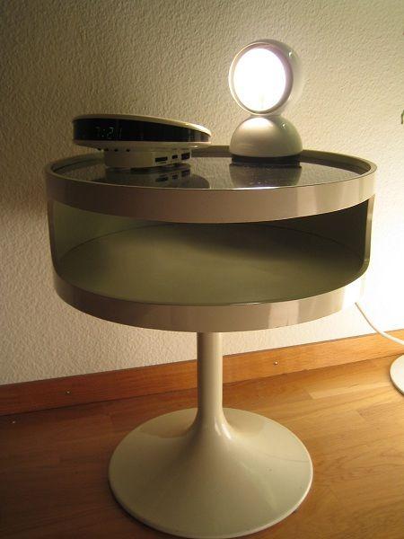 Space Age Opal Tulip Pedestal Table Artemide Eclisse Lamp Grundig Sonoclock Vintage Interiors Artemide Mcm Furniture