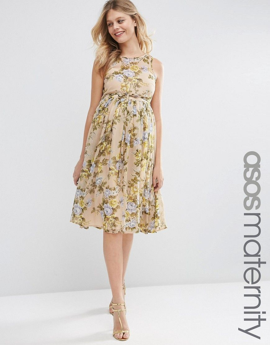 c703d5d80da ASOS+Maternity+Yellow+Rose+Soft+Midi+Dress