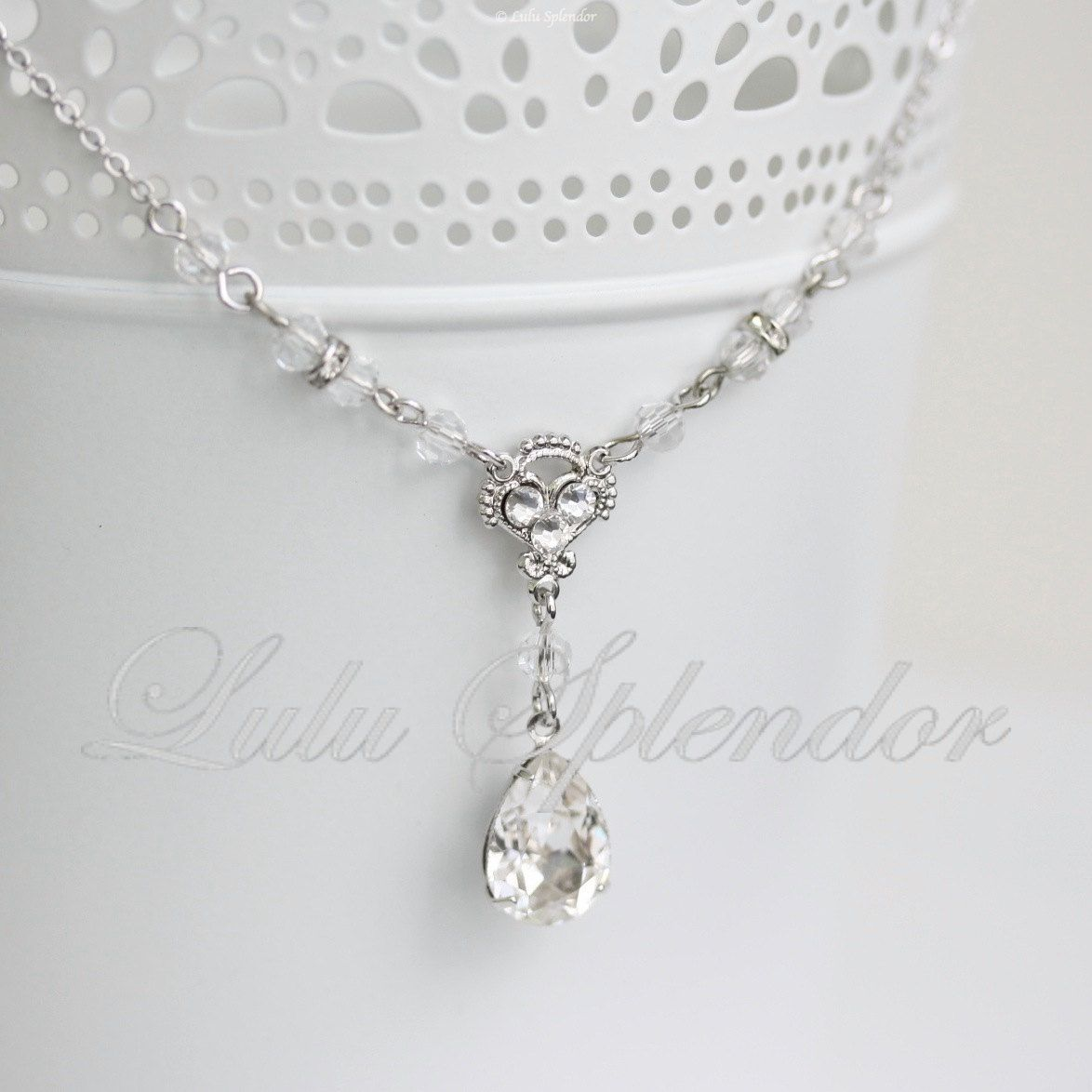 Wedding Necklace Crystal Pendant Chain Rhinestone Drop Bridal Simple Jewelry Jane 49 00 Via Etsy