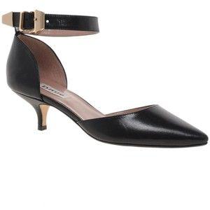 Black Low Heel Pumps | Women's Scalloped Low-Heel Leather Pump ...