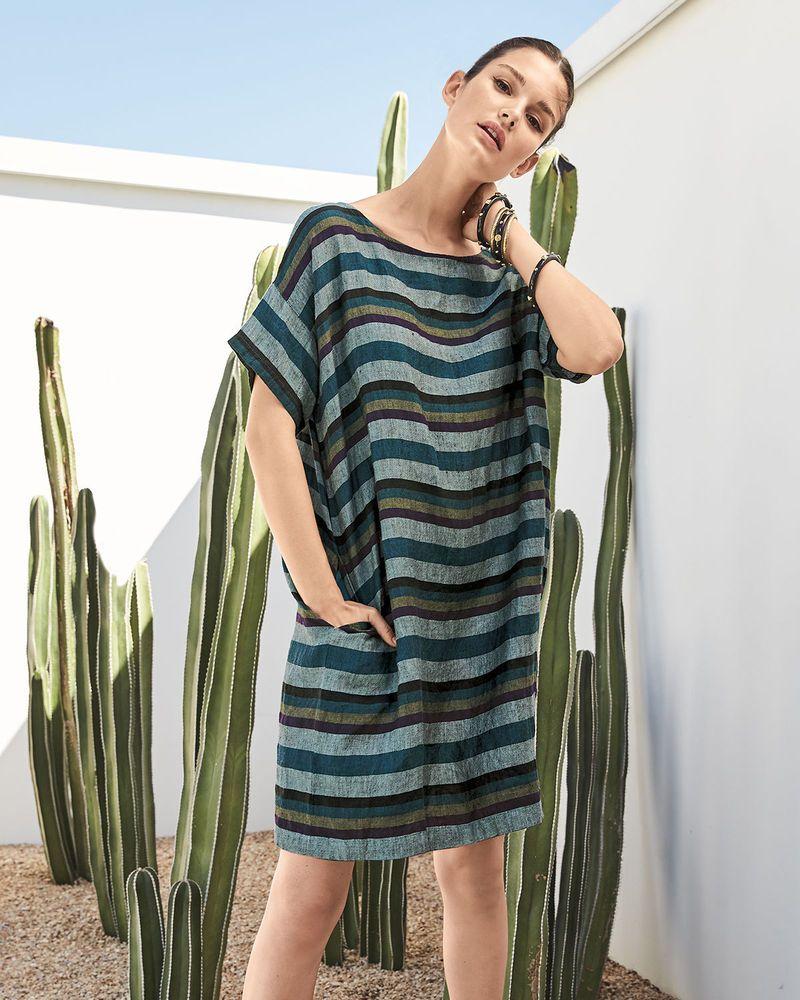 New Eileen Fisher Teal Organic Linen Multi Stripe Round Neck Boxy Dress L 248 Eileen Fisher Boxy Dress Linen Dress