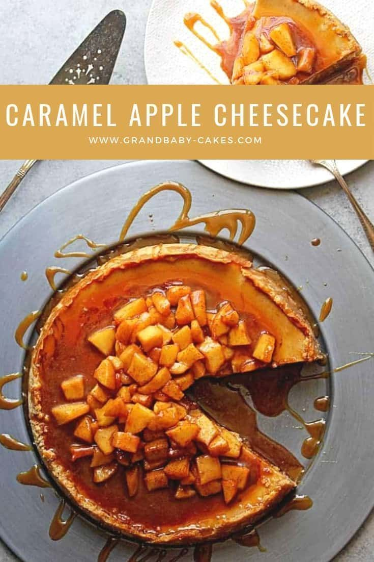 Caramel Apple Cheesecake Recipe - This decadent fall cheesecake recipe, flavored with apple sauce and topped with homemade silky caramel sauce and tender spiced apples, is a holiday showstopper. #apple #caramel #caramelapple #cheesecake #falldessert via @grandbabycakes #caramelapplecheesecake Caramel Apple Cheesecake Recipe - This decadent fall cheesecake recipe, flavored with apple sauce and topped with homemade silky caramel sauce and tender spiced apples, is a holiday showstopper. #apple #car #caramelapplecheesecake