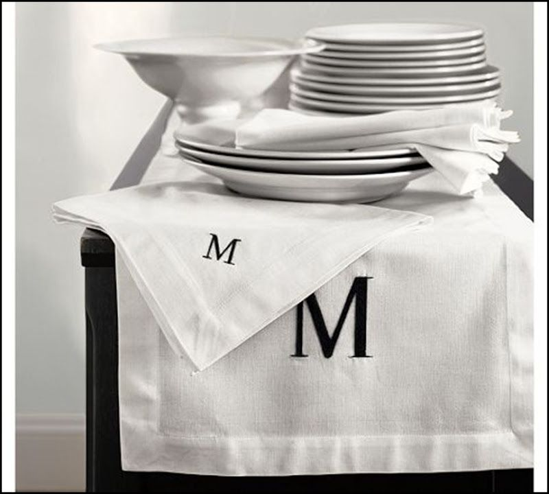 Pottery Barn Monogrammed Table Linens