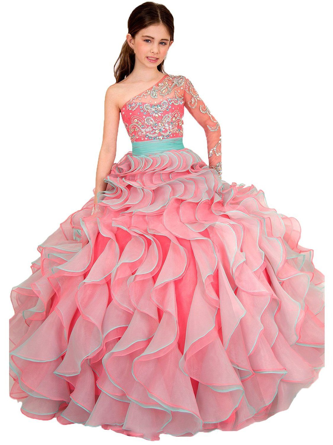 Puffy girlus beaded one shoulder flower girl dresses for wedding