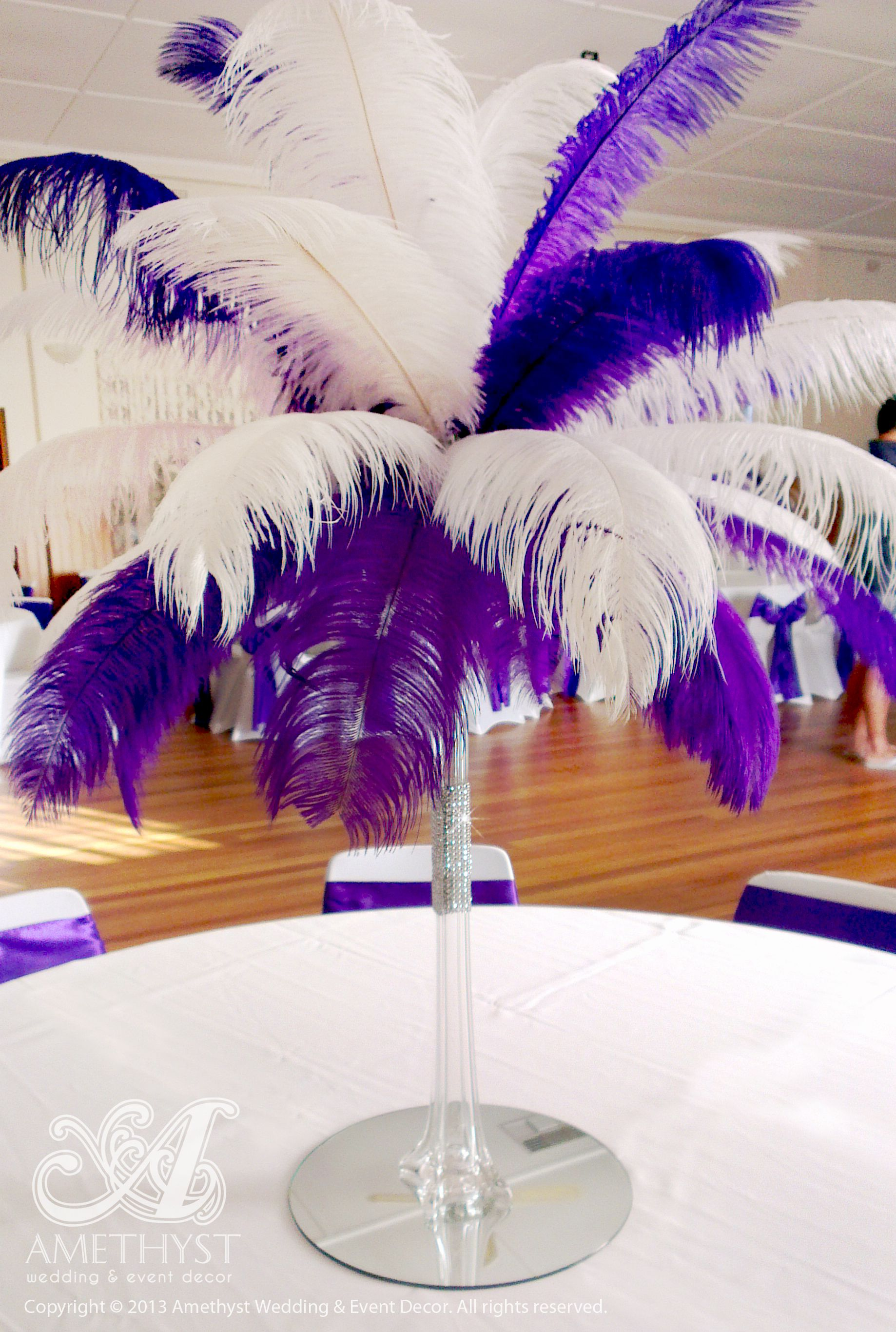 Centerpiece package 60cm clear eiffel vase with purple white centerpiece package 60cm clear eiffel vase with purple white ostrich feathers diamante mesh reviewsmspy