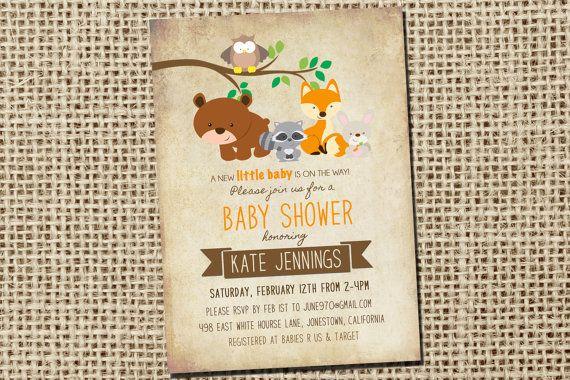 Woodland Baby Shower Invites