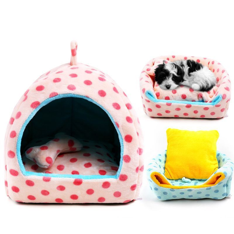 cute cat dog pet tent cave bed house soft luxury small dog puppy bed kennel nest indoor winter warm dog puppy house cushion mat