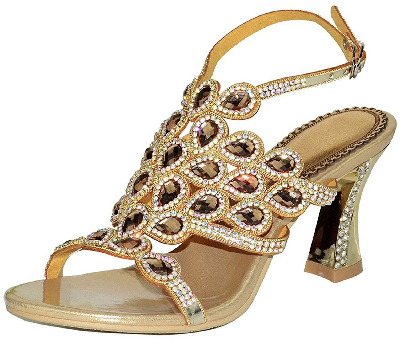 Reinhar Toe Diamond Wedding Sandal Chunky Heels Sparkle Ankle Strap Read More
