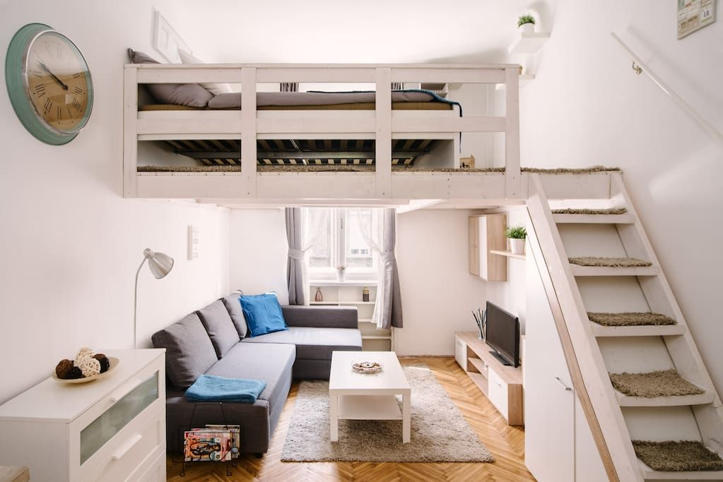 Living Room With The Bedroom Upstairs Tiny House Design Tiny