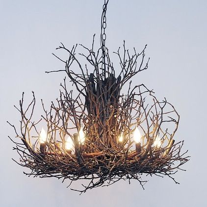 twig chandelier would be great to paint an old ugly. Black Bedroom Furniture Sets. Home Design Ideas