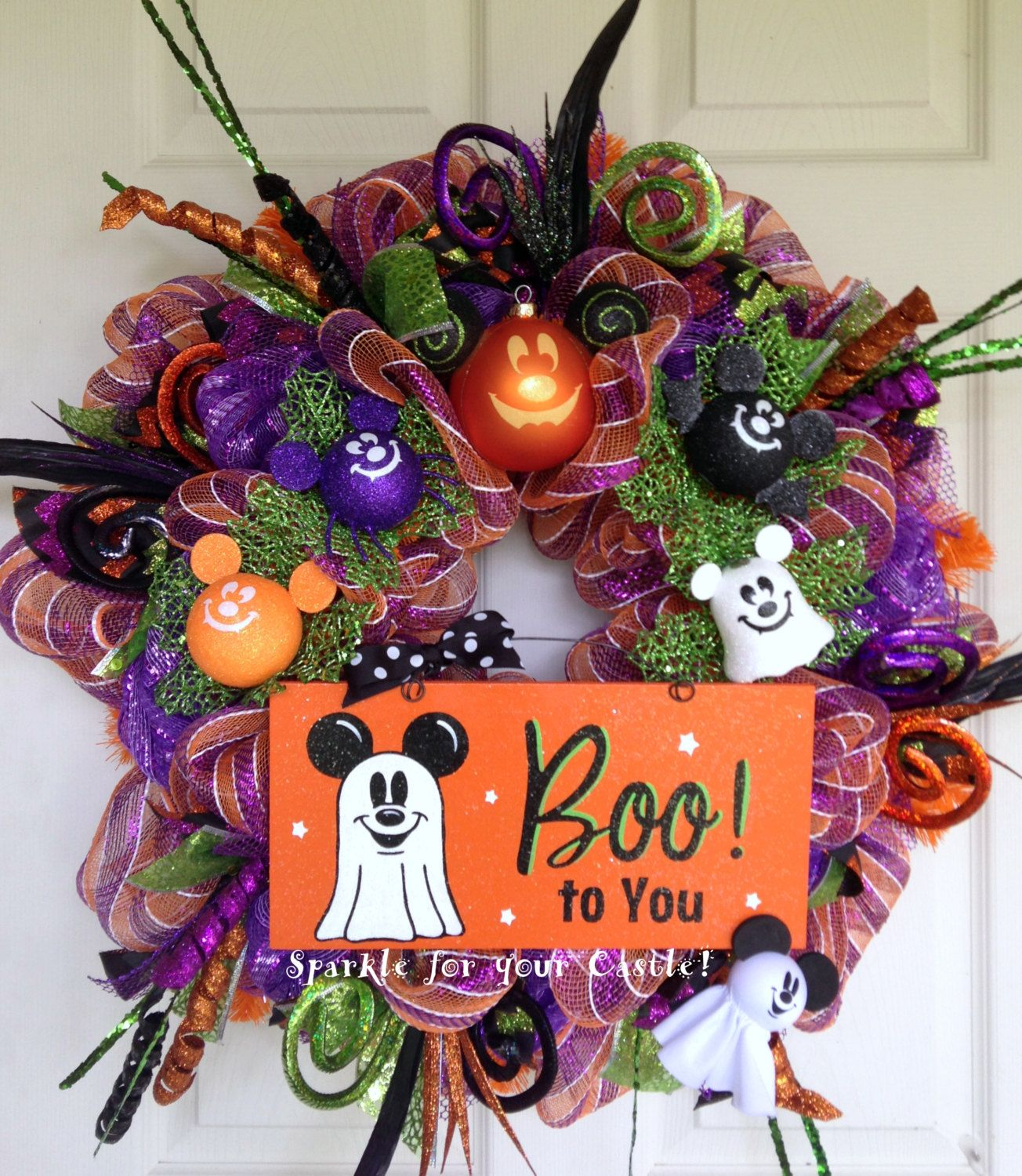Disney Halloween Deco Mesh Wreath with Mickey Mouse Ghost LAST ONE