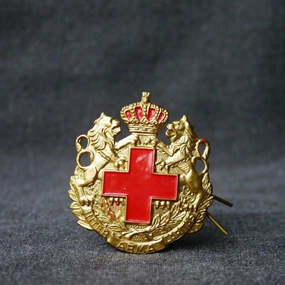 fabulous large red cross pin  inter arma caritas antique memorabilia