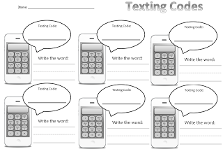 Daily 5 Word Work- Texting Codes. Great center idea for