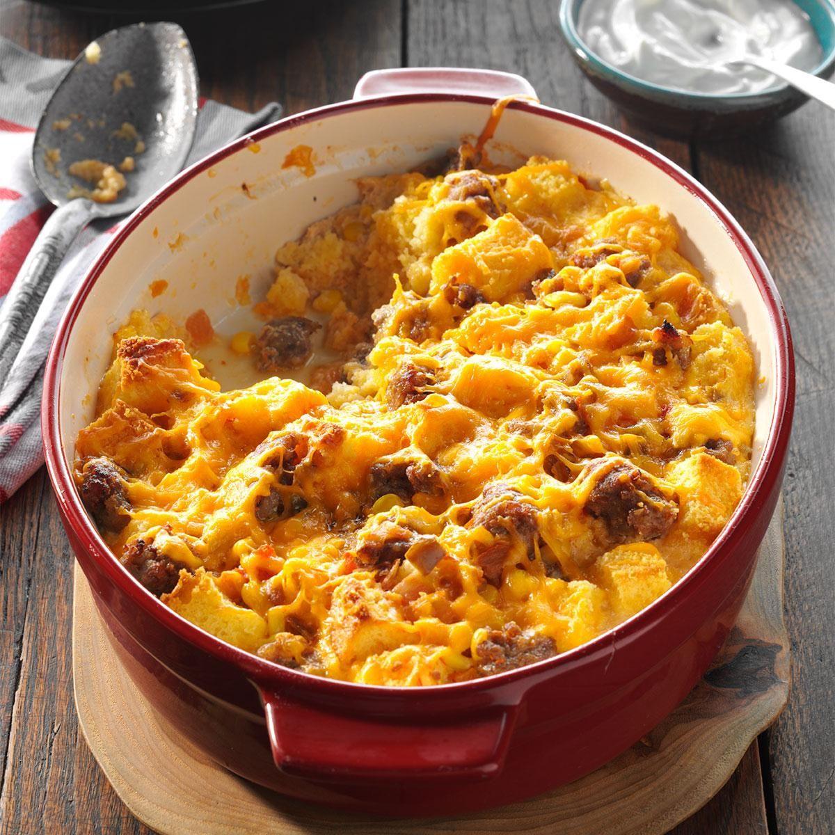 Easy Breakfast Strata Recipe: Fiesta Cornbread & Sausage Strata
