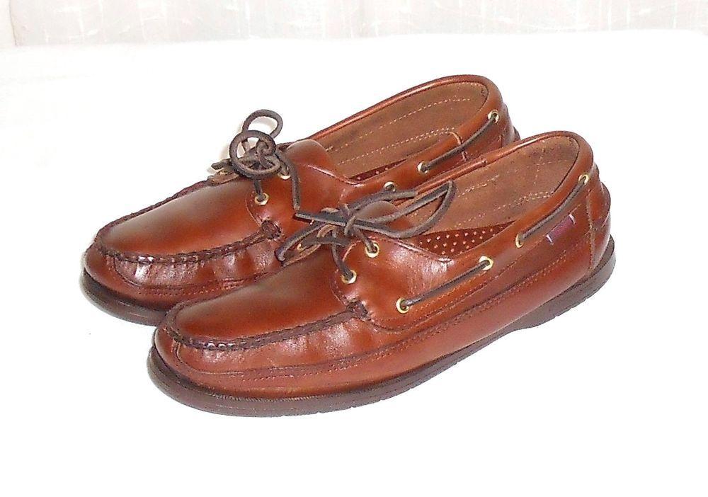 Sebago Docksides Men's Brown Leather Boat Deck Oxford Shoe Size 9 M #Sebago #DeckBoatCasualOxford