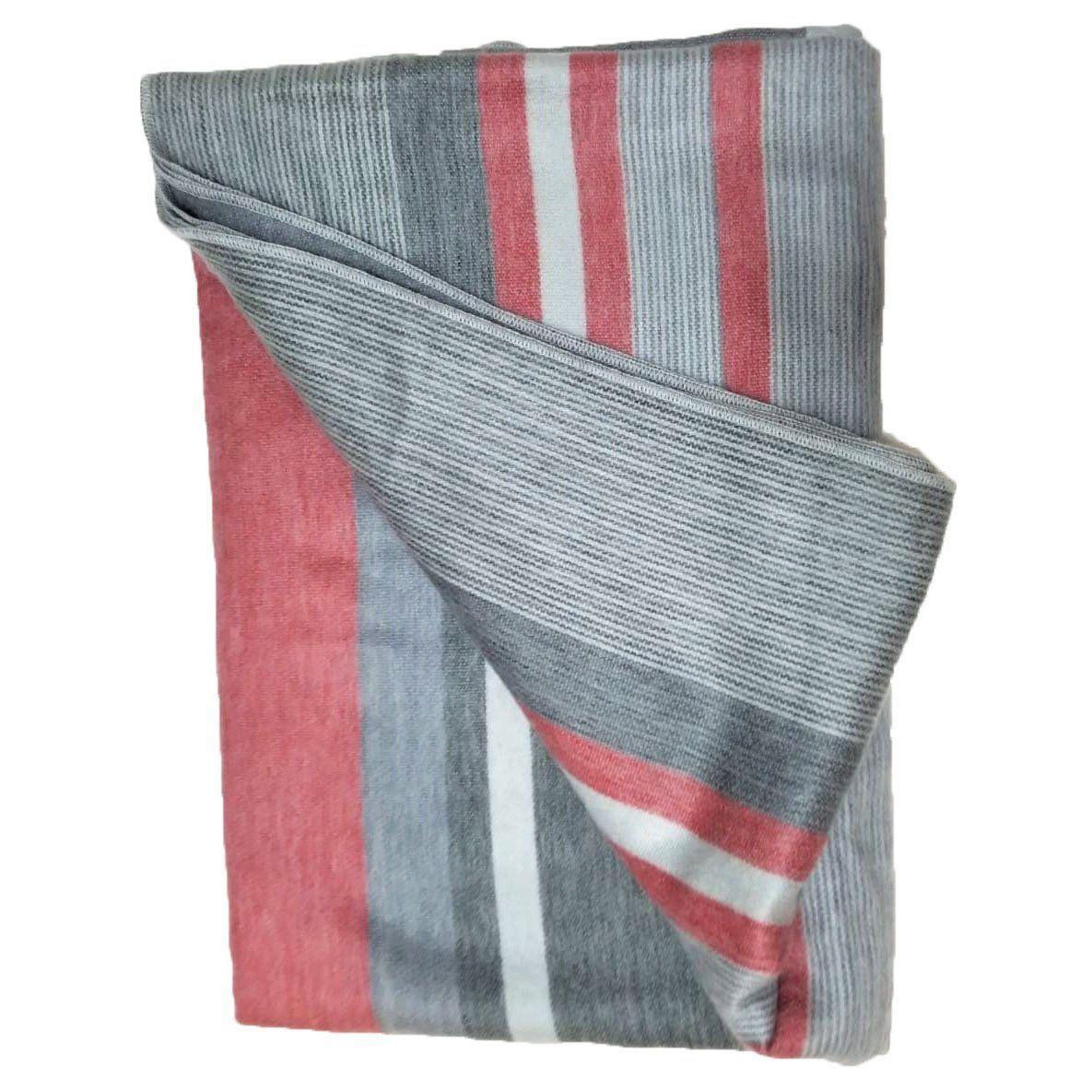 Elegant Pink Grey Striped Alpaca Sofa Blanket Bedding First Home Gift