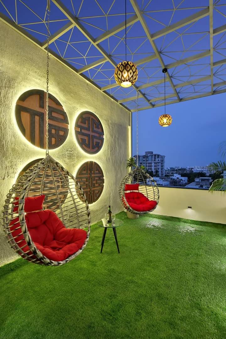 Terrace With Wooden Swing And Artificial Grass Urbanclaphomes Homedecor Homedecorideas Homedesign Interior In 2020 Roof Garden Design Terrace Design Terrace Decor