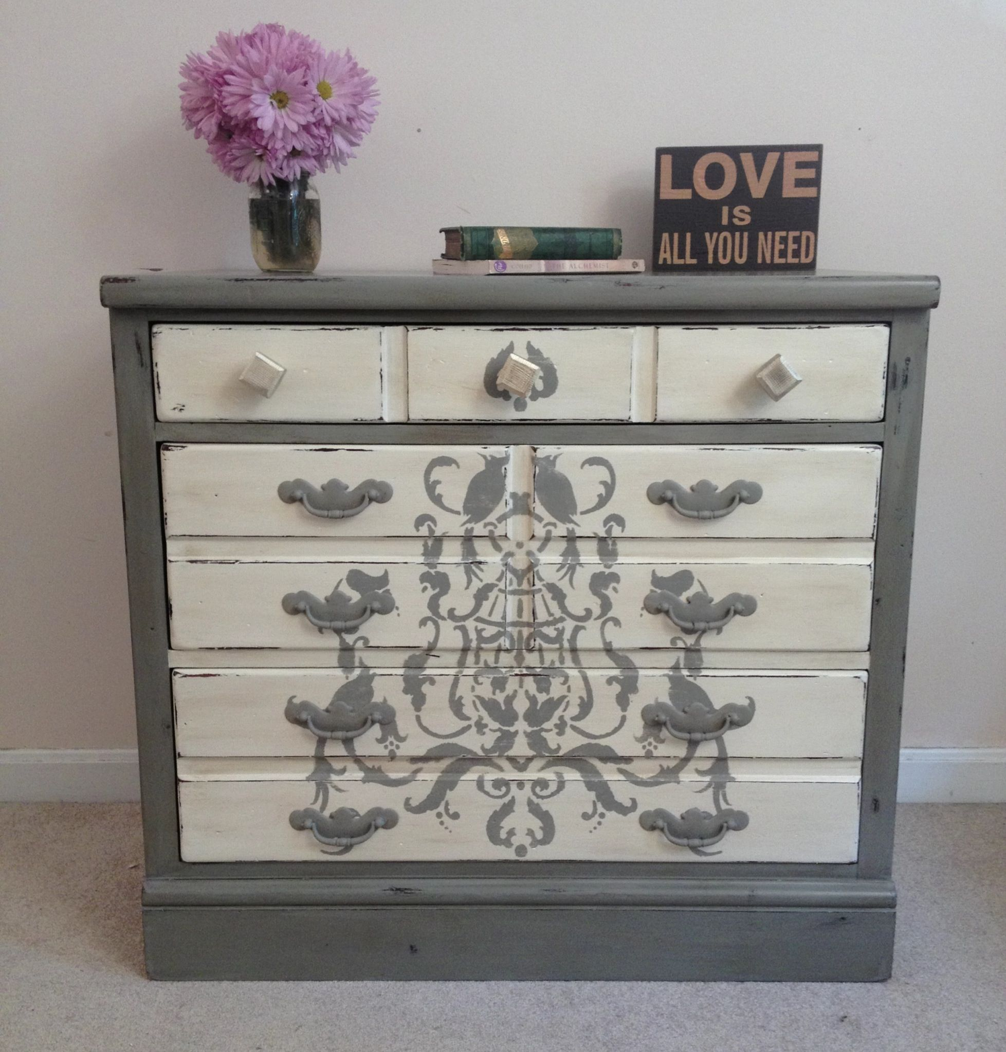 Rustic stenciled Annie Sloan chalk painted dresser in French Linen