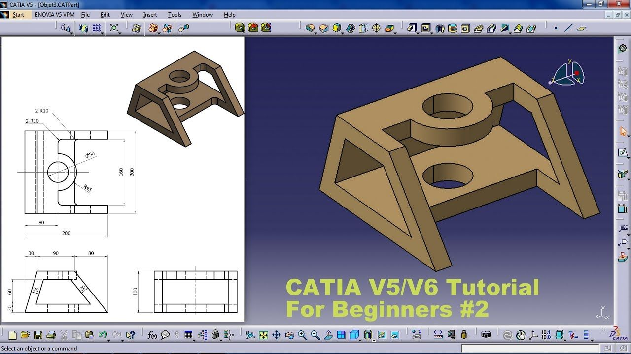 Catia V5 V6 Tutorial For Beginners Practice Object New Tutorial Beginners Object