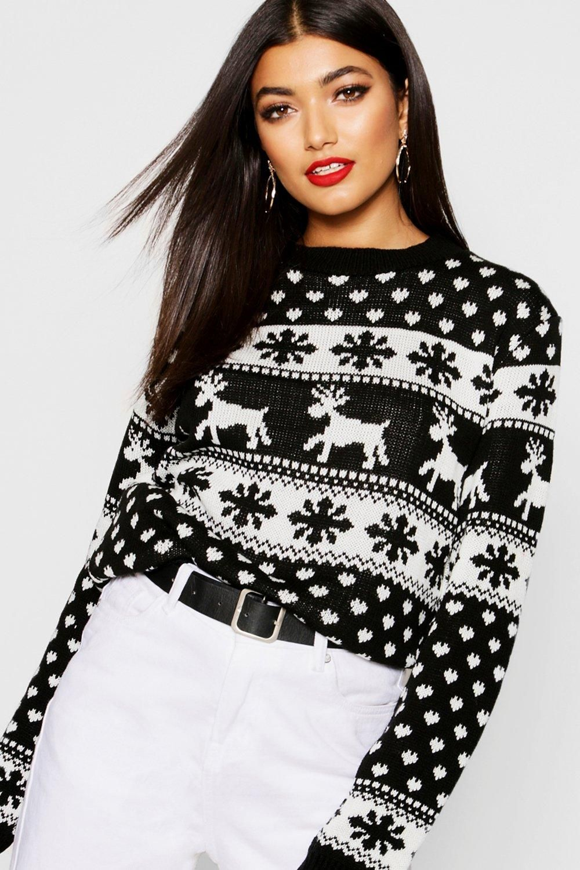 Reindeer & Snowflake Christmas Sweater boohoo