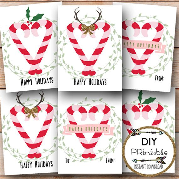 Printable Candy Cane Tags / Happy Holidays Tags Printable