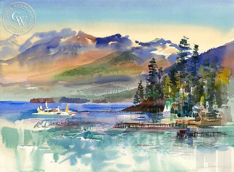 Fresh Lake Tahoe from Tahoe City 1987 Luxury - Awesome lake painting For Your Plan