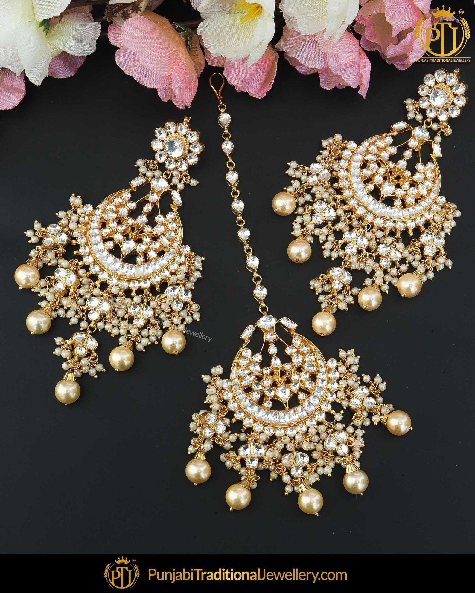 Gold finished pearl kundan earring tikka set punjabi
